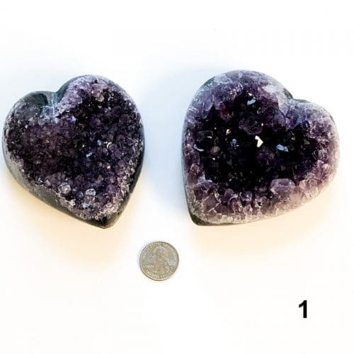 Amethyst Heart Cluster - 1 with Quarter $75