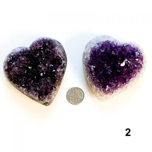 Amethyst Heart Cluster - 2 with Quarter $60