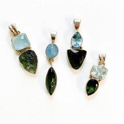 Moldavite Aquamarine Pendant
