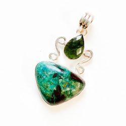 Moldavite & Chrysocolla Pendant
