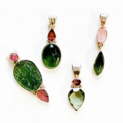 Moldavite and Pink Tourmaline Pendant