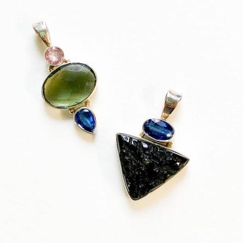 Moldavite and Kyanite Pendant