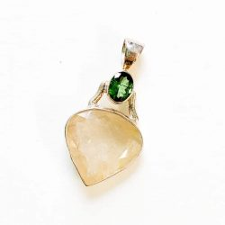 Moldavite with Rutilated Quartz Pendant