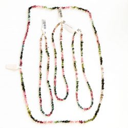 Pink and Green Tourmaline Chip Necklace