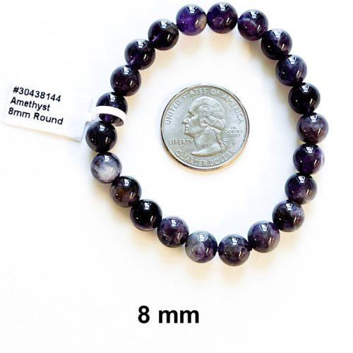 Amethyst Bracelet 8 mm with Quarter