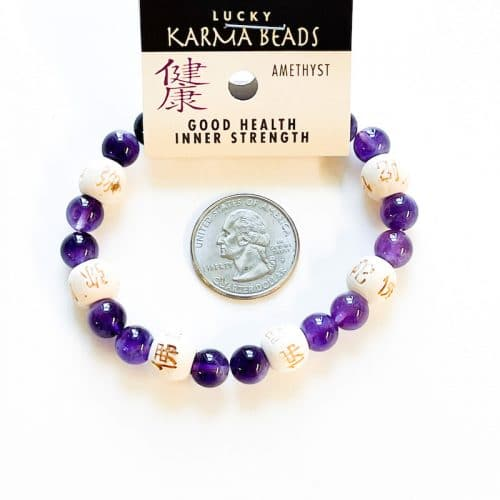 Amethyst Lucky Karma with Wood Beads Bracelet 8 mm with Quarter
