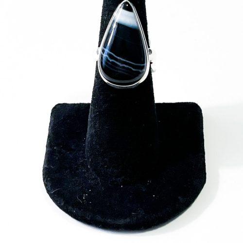 Black Banded Onyx Size 7 Ring