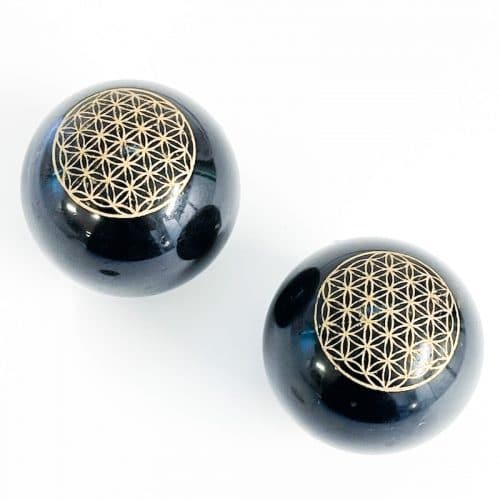 Black Tourmaline with Gold Flower of Life