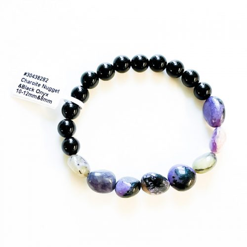 Charoite and Black Onyx Bracelet