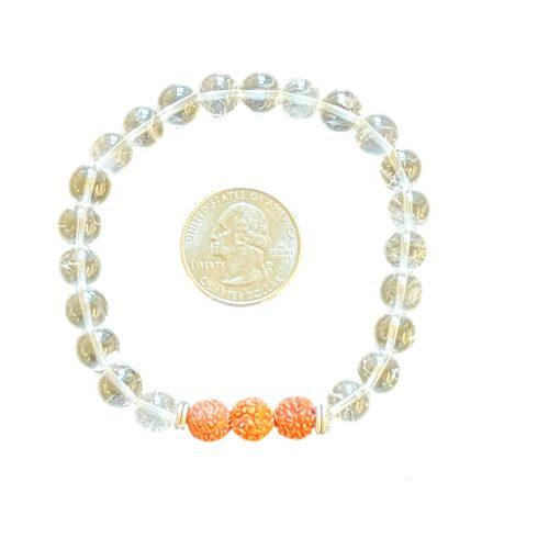 Clear Quartz & Rudraksha Seed Bracelet