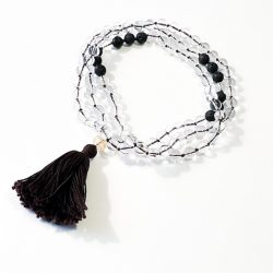 Clear Quartz and Lava Bead Mala