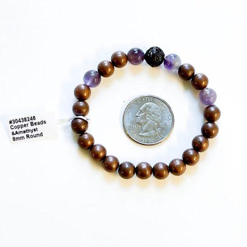 Copper and Amethyst 8 mm Bracele