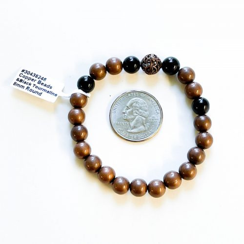 Copper and Black Tourmaline 8 mm Bracelet