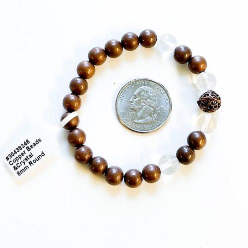 Copper and Clear Quartz 8 mm Bracelet