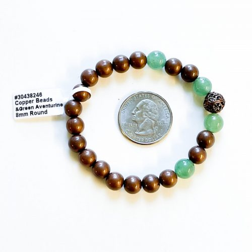 Copper and Green Aventurine 8 mm Bracelet with Quarter