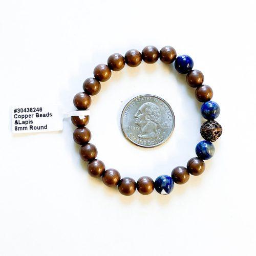 Copper and Lapis Lazuli 8 mm Bracelet with Quarter