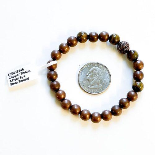 Copper and Tiger Eye 8 mm Bracelet