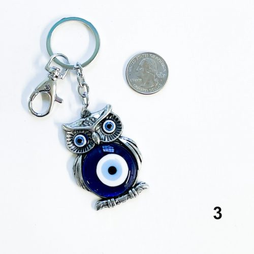 Evil Eye Talisman Owl Keychain with Quarter