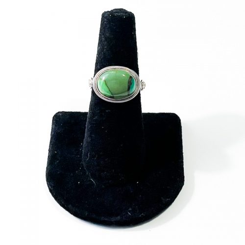 Green Turquoise Oval Size 7 Ring