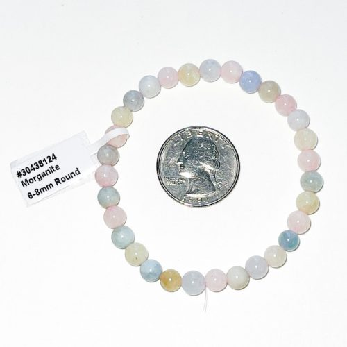 Morganite 6 mm Bracelet with Quarter