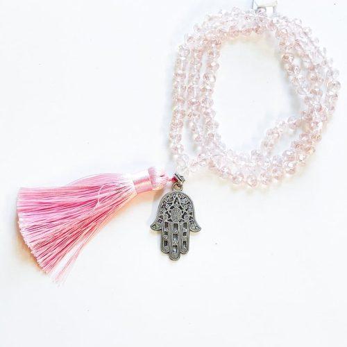 Pink Glass Mala Beads