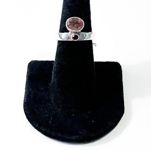 Pink Tourmaline and Garnet Size 7 Ring