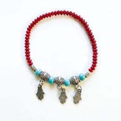 Red Coral & Hamsa Hand Bracelet