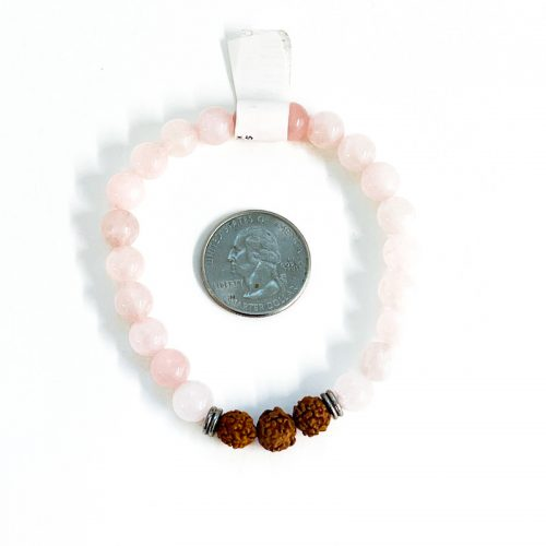 Rose Quartz Bracelet with Rudraksha with Quarter