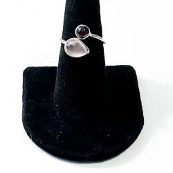 Rose Quartz and Garnet Size 7 Ring