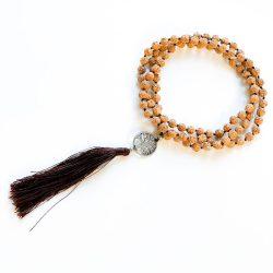 Light Brown Rudraksha Tree of Life Mala Beads