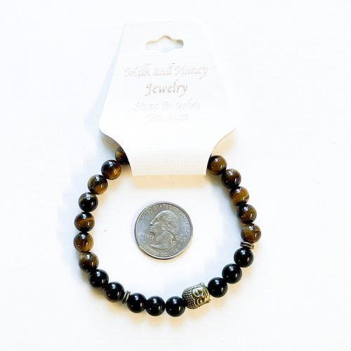 Tiger Eye with Black Onyx and Buddha Charm 8 mm Bracelet