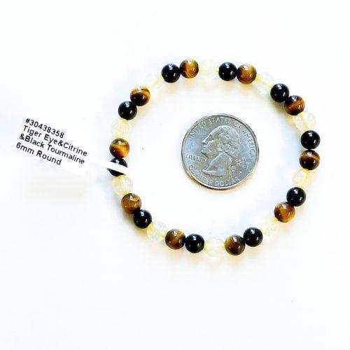 Tiger Eye with Black Tourmaline and Citrine 6 mm Bracelet