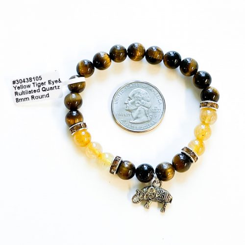Tiger Eye with Rutlated Quartz and Elephant Charm 8 mm Bracelet with Quarter