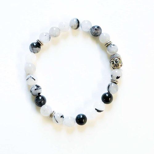 Tourmalinated Quartz Men's Bracelet with Buddha Head