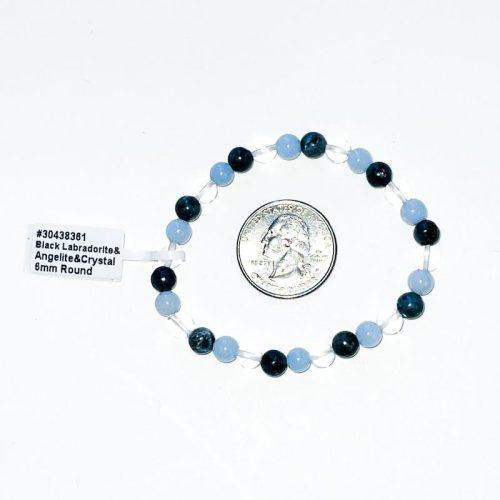 Angelite, Clear Quartz, Black Lab Bracelet