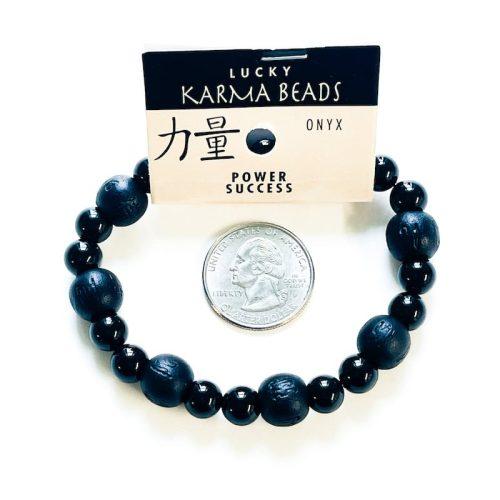 Black Onyx Lucky Karma Bracelet with Black Wood and Quarter