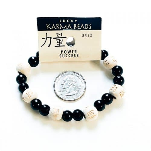 Black Onyx Lucky Karma Bracelet with Natural Wood and Quarter