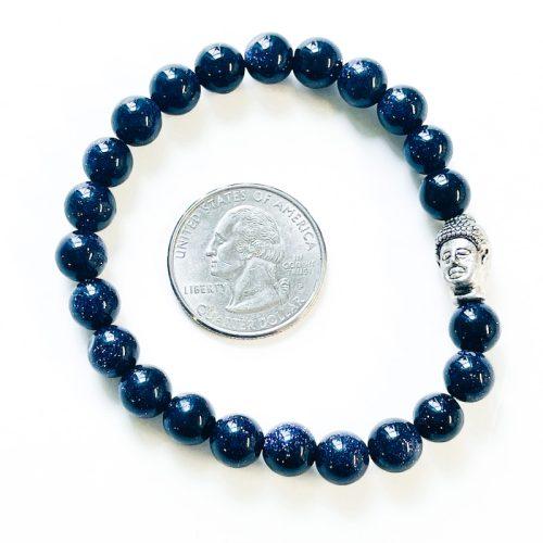 Blue Goldstone Bracelet 8 mm with Buddha