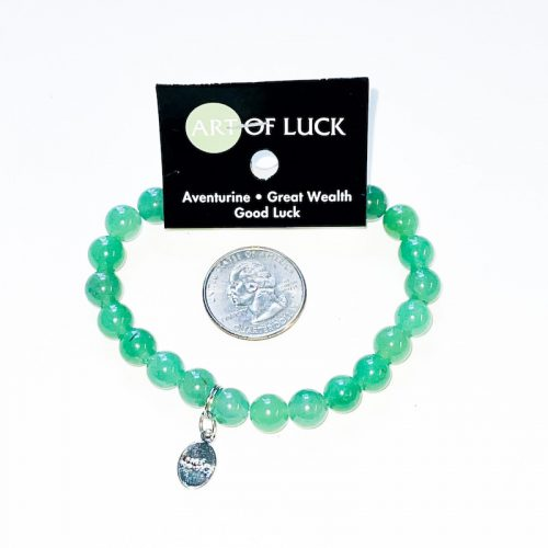 Green Aventurine Bracelet 8mm with Lucky Charm