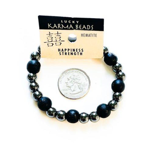 Hematite Lucky Karma Bead Bracelet Black