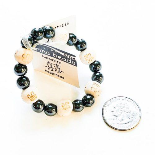 Kids Hematite Lucky Karma Bead Bracelet