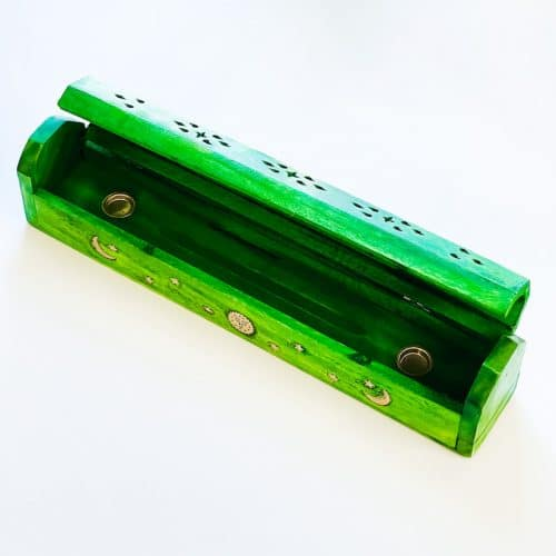 Green Dyed Wood Box Incense Holder