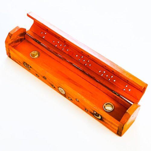 Orange Dyed Wood Box Incense Holder