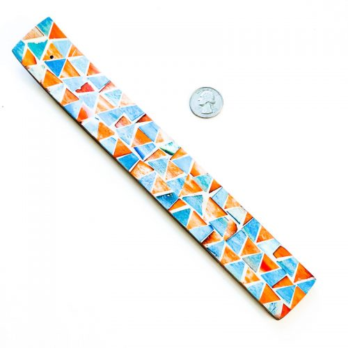 Incense Holder Mosaic Inlay Orange and Blue Triangle with Quarter