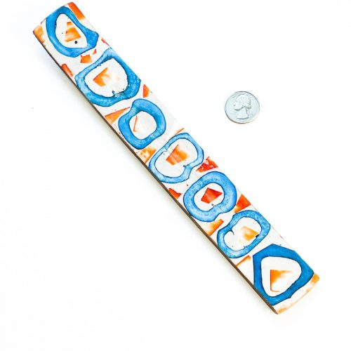 Incense Holder Mosaic Inlay Orange and Blue Circles