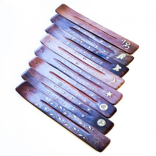 Incense Holder Wood with Brass Inlay
