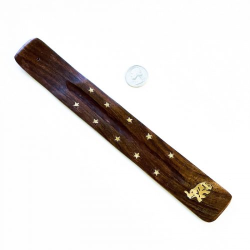 Elephant - Incense Holder Wood with Brass Stars and Elephant Inlay