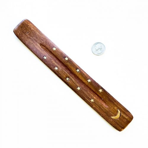Crescent Moon - Incense Holder Wood with Brass Stars and Moon Inlay