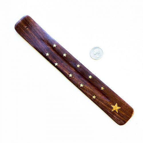 Star - Incense Holder Wood with Brass Stars and Star Inlay