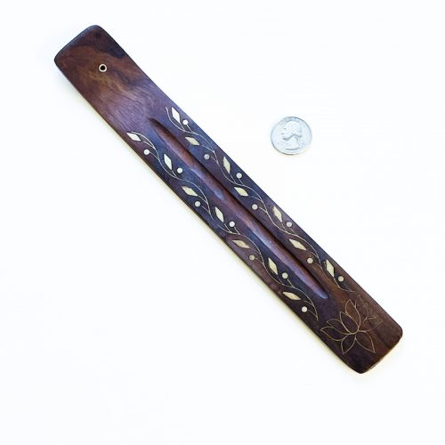 Lotus Wood Incense Holder with Brass Inlay